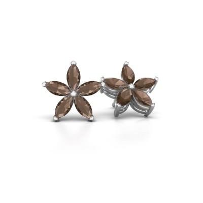 Picture of Stud earrings Sylvana 925 silver smokey quartz 5x2.5 mm