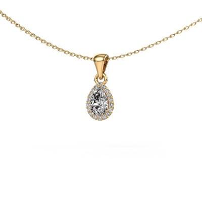 Halskette Seline per 375 Gold Zirkonia 6x4 mm