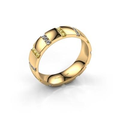 Huwelijksring Juul 375 goud gele saffier ±5x1.8 mm
