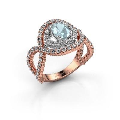 Ring Chau 585 rosé goud aquamarijn 7x5 mm