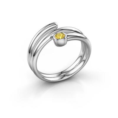 Ring Jenna 585 witgoud gele saffier 3 mm