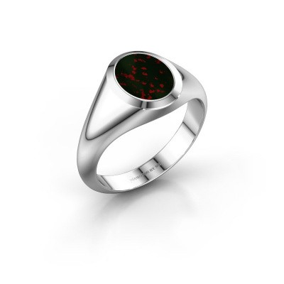 Signet ring Evon 1 950 platinum bloodstone 10x8 mm