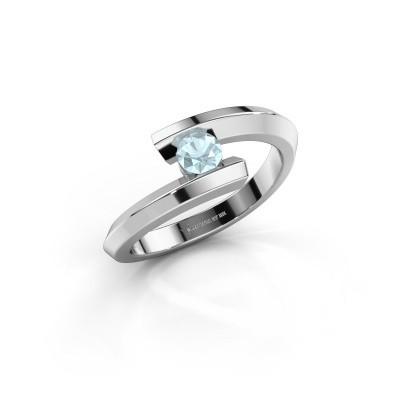 Ring Paulette 925 silver aquamarine 3.4 mm