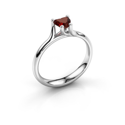 Engagement ring Dewi Heart 585 white gold garnet 5 mm