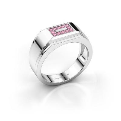 Men's ring Roan 925 silver pink sapphire 1.5 mm