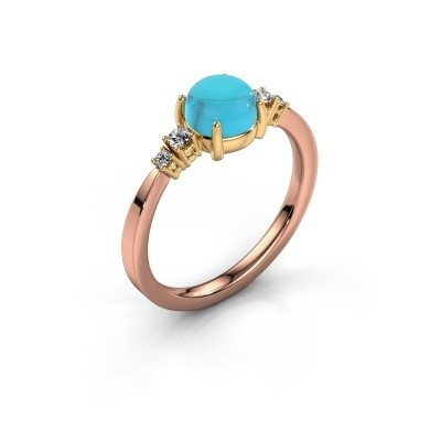 Ring Regine 585 rosé goud blauw topaas 6 mm