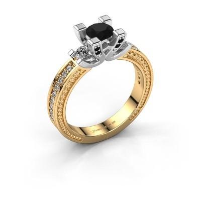 Foto van Aanzoeksring Ninthe 585 goud zwarte diamant 0.999 crt
