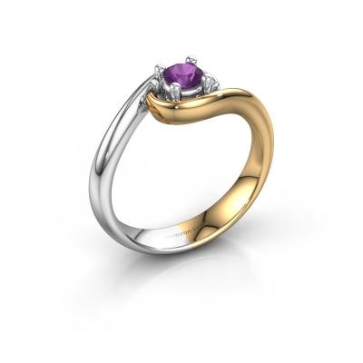 Ring Linn 585 goud amethist 4 mm