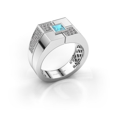 Foto van Heren ring Rogier 375 witgoud blauw topaas 4 mm