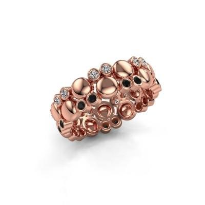 Foto van Ring Joanne 375 rosé goud zwarte diamant 0.370 crt