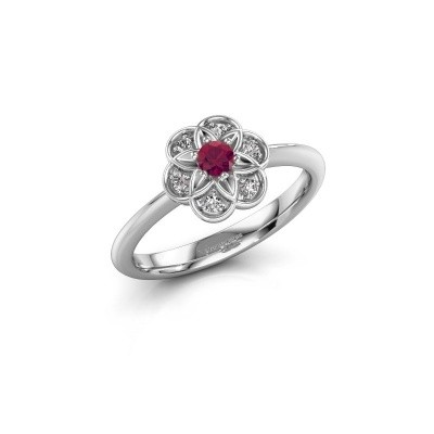 Engagement ring Uma 925 silver rhodolite 3 mm