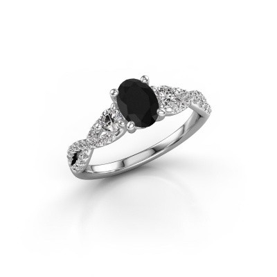 Foto van Verlovingsring Marilou OVL 585 witgoud zwarte diamant 1.41 crt