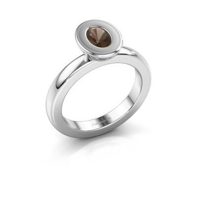 Stapelring Eloise Oval 925 zilver rookkwarts 6x4 mm