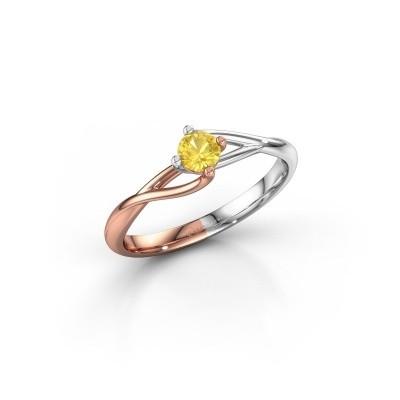 Foto van Verlovingsring Paulien 585 rosé goud gele saffier 3.7 mm