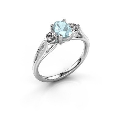 Picture of Engagement ring Amie OVL 585 white gold aquamarine 7x5 mm