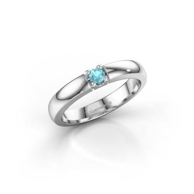 Foto van Verlovingsring Rianne 1 585 witgoud blauw topaas 3 mm