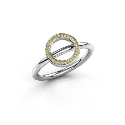 Ring Shape round large 375 witgoud gele saffier 0.8 mm