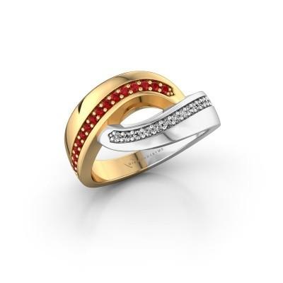 Ring Sharita 585 goud robijn 1.2 mm
