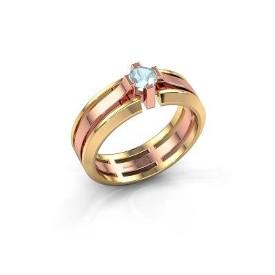 Foto van Heren ring Sem 585 rosé goud aquamarijn 4.7 mm