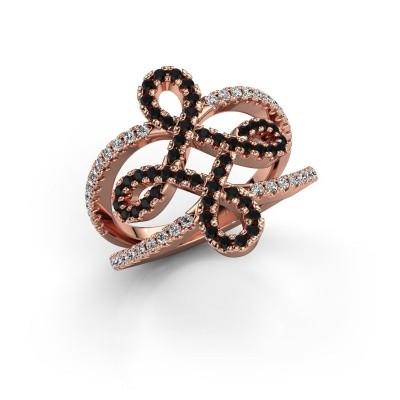 Foto van Ring Chantay 375 rosé goud zwarte diamant 0.792 crt