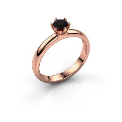Foto van Verlovingsring Lorretta 375 rosé goud zwarte diamant 0.48 crt