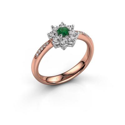 Verlobungsring Camille 2 585 Roségold Smaragd 3.4 mm