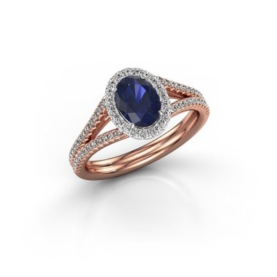 Engagement ring Rachele 2 585 rose gold sapphire 7x5 mm
