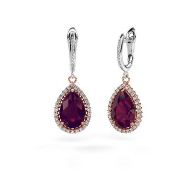 Drop earrings Hana 2 585 rose gold rhodolite 12x8 mm