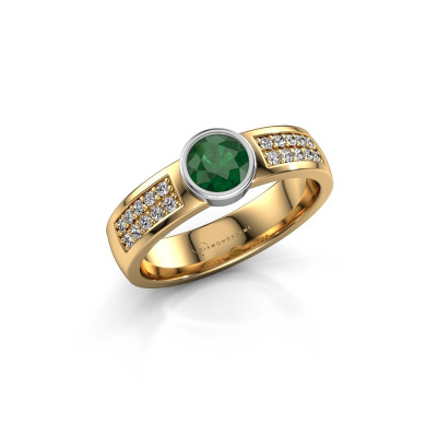 Engagement ring Ise 3 585 gold emerald 4.7 mm