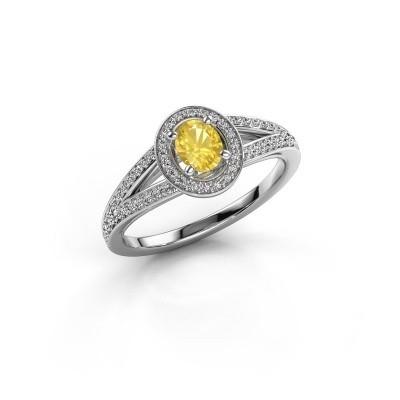Verlovings ring Angelita OVL 950 platina gele saffier 6x4 mm
