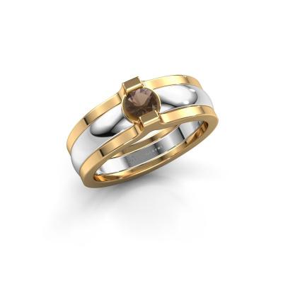 Ring Jade 585 white gold smokey quartz 4 mm