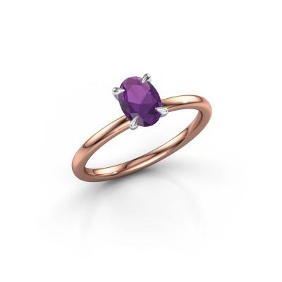 Foto van Verlovingsring Crystal OVL 1 585 rosé goud amethist 7x5 mm