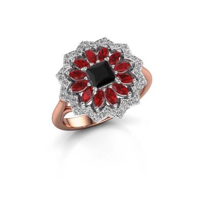 Foto van Verlovingsring Franka 585 rosé goud zwarte diamant 0.70 crt