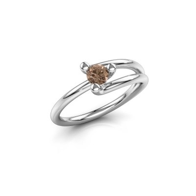 Foto van Verlovingsring Roosmarijn 585 witgoud bruine diamant 0.25 crt
