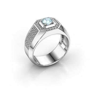 Heren ring Pavan 950 platina aquamarijn 5 mm