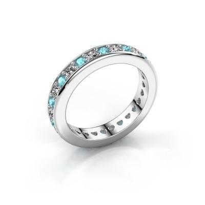 Aanschuifring Nienke 925 zilver blauw topaas 2.2 mm