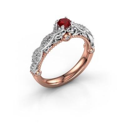 Verlovingsring Chantelle 585 rosé goud robijn 4 mm