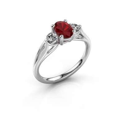 Picture of Engagement ring Amie OVL 950 platinum ruby 7x5 mm