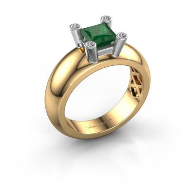 Ring Cornelia Square 585 gold emerald 5 mm