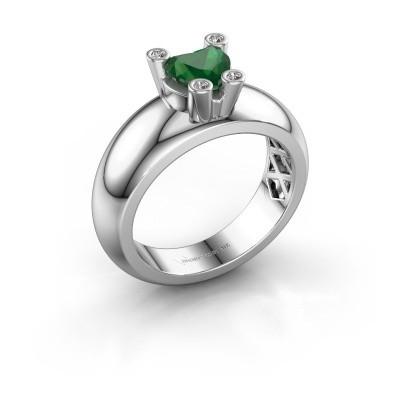 Ring Cornelia Heart 925 Silber Smaragd 6 mm