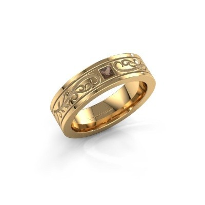 Heren ring Matijs 375 goud rookkwarts 3 mm