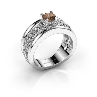 Foto van Ring Alicia 950 platina bruine diamant 1.31 crt