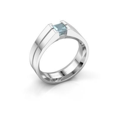 Foto van Heren ring Stefan 950 platina aquamarijn 4.5 mm