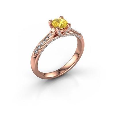 Verlovingsring Mia 3 375 rosé goud gele saffier 5 mm