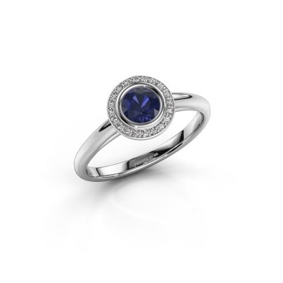 Foto van Promise ring Noud 1 RND 585 witgoud saffier 4.7 mm