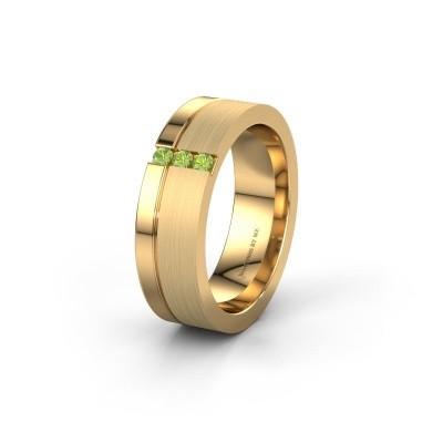 Wedding ring WH0327L16B 585 gold peridot ±0.24x0.08 in