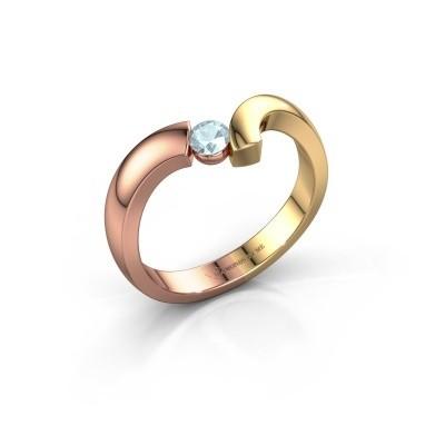 Ring Arda 585 rosé goud aquamarijn 3.4 mm