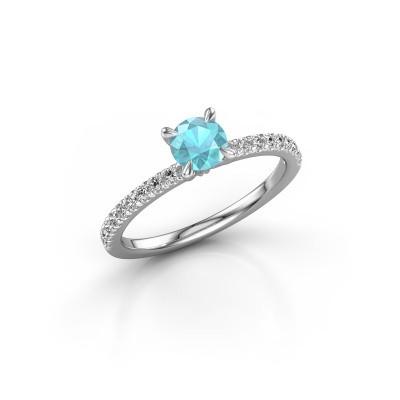 Bild von Verlobungsring Crystal rnd 2 950 Platin Blau Topas 5 mm