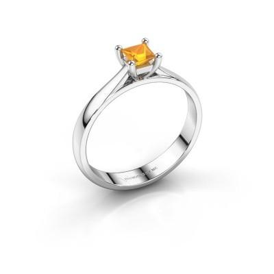 Engagement ring Sam Square 585 white gold citrin 4 mm