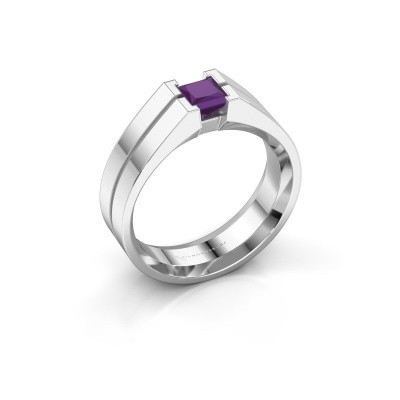 Foto van Heren ring Stefan 925 zilver amethist 4.5 mm
